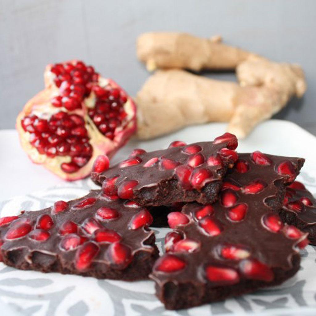 chocolate and pomegranate bark